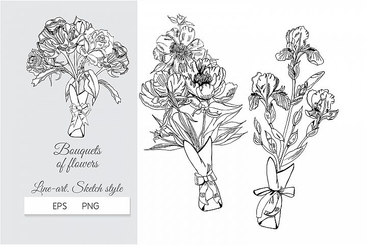 Hand drawn ink sketch with bouquets of iris, peony and rose.