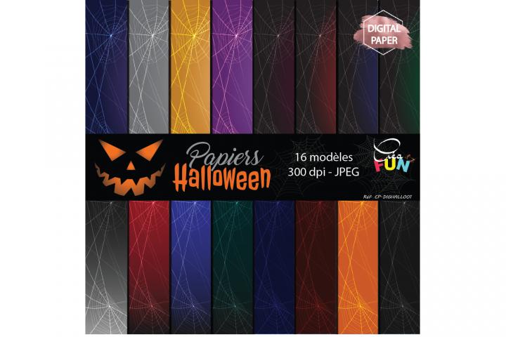 Lot de 16 papiers numériques - Collection Halloween