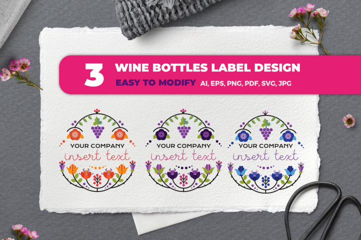 Floral bottle labels - Wine bottle labels - Floral logo