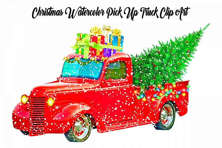 Christmas Watercolor Retro Pick Up Truck with Snow Clip Art