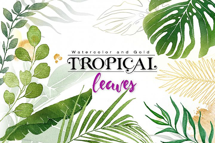 Watercolor & Gold Tropical Leaves Collection