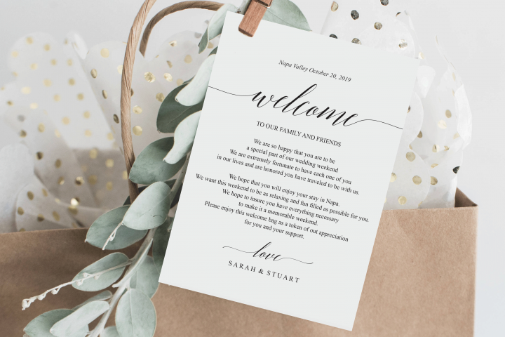Wedding Itinerary Card, Welcome Note, Printable Wedding