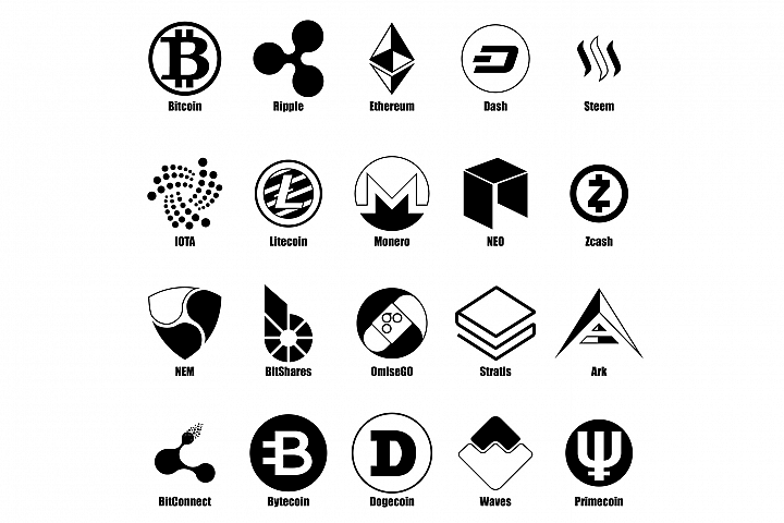 Cryptocurrency types icons set, simple style