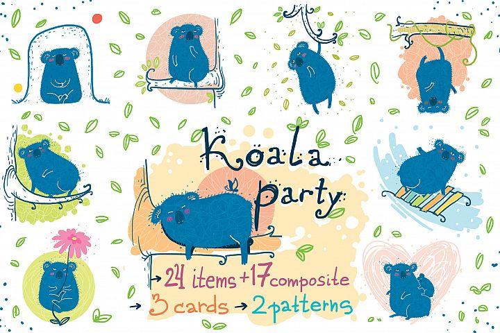 Koala Party -9 koalas and the nature