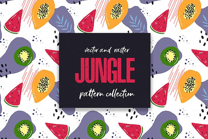 Seamless patterns JUNGLE fruits collection, vector tropical