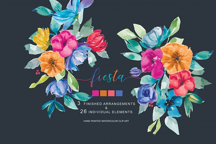 Hand Painted Colorful Watercolor and Gouache Floral Clipart