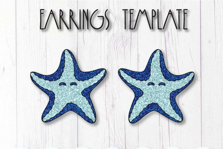 Sea star earrings template SVG, DIY earrings template