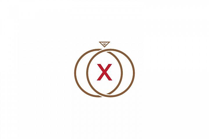 x letter ring diamond logo