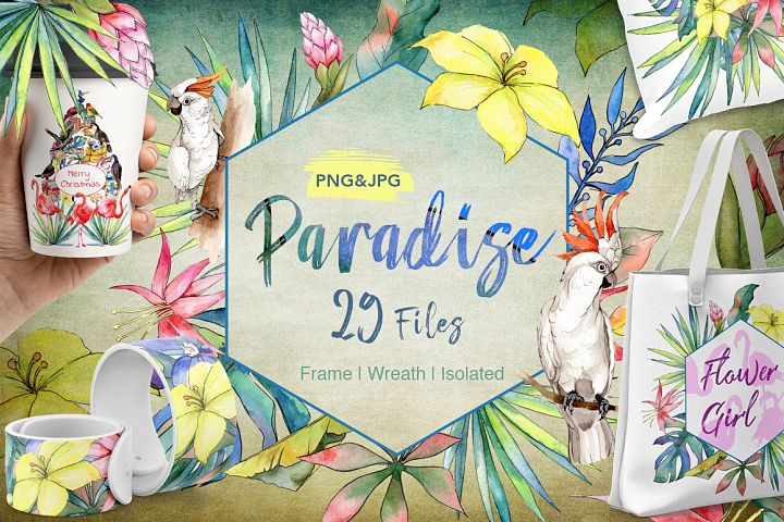 Tropical PNG watercolor flower set