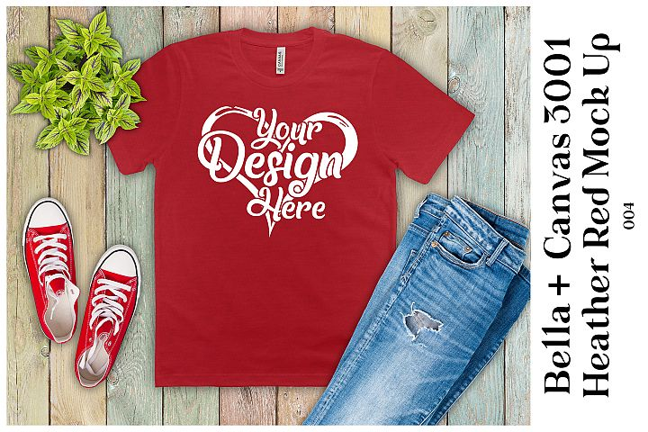 Mens T-Shirt Mockup Heather Red Bella Canvas 3001 Mock up