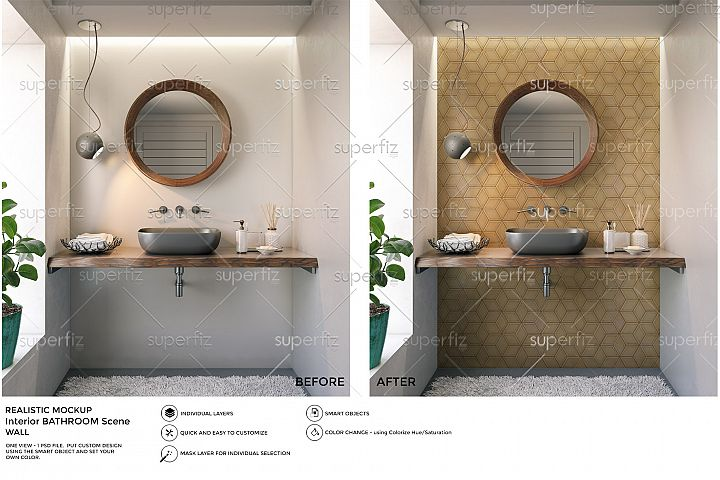 Bathroom PSD Mockup to change the WALL surface SM37