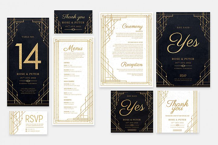 Art Deco Wedding Invite Templates