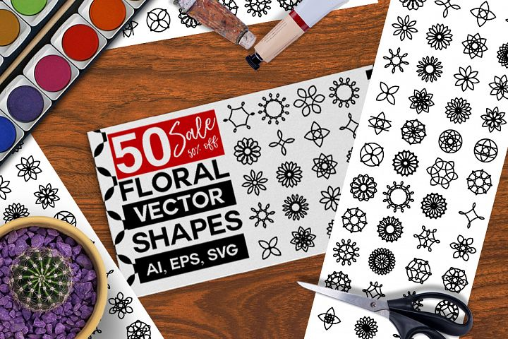 50 Round Floral Decoration Shapes