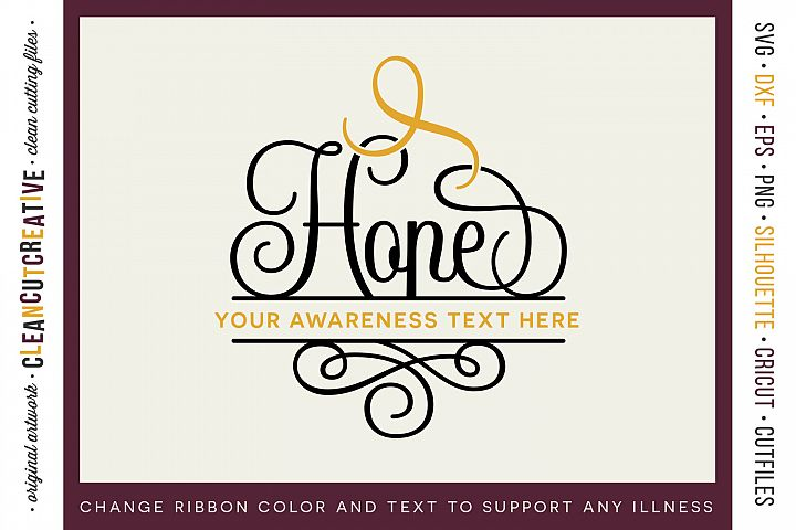 HOPE - CANCER AWARENESS - any cause SVG cut file design
