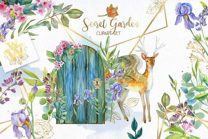 Floral garden clipart with magic deer, flowers golden frame