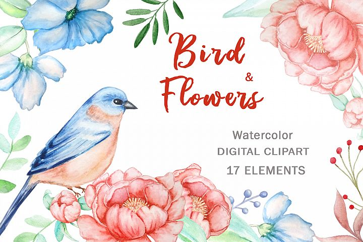 Bird and Flowers Peony Watercolor Clipart