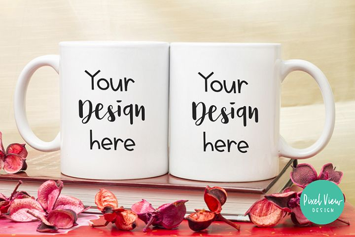 White Couple Coffee Mug Mock-Up