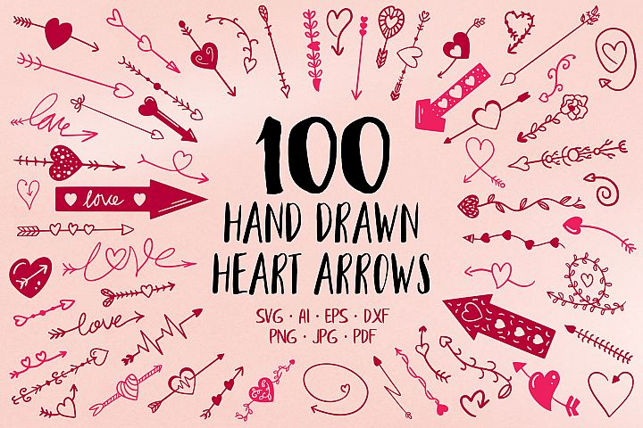 100 Hand Drawn Heart Arrow SVG Files