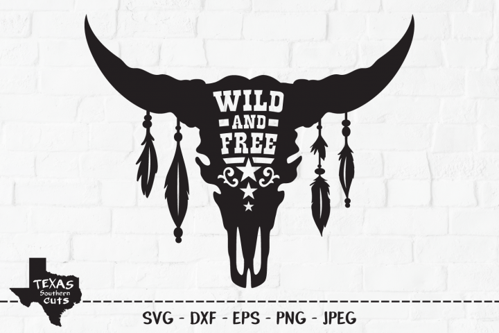 Wild And Free SVG, Cut File, Southern Cow Skull Shirt Design