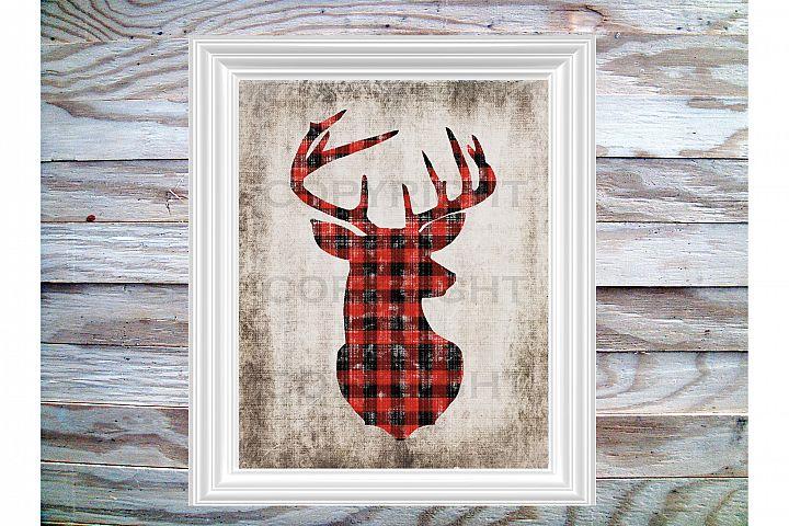 Buck Head Digital Printable in Grunged Lumberjack Pattern, 8