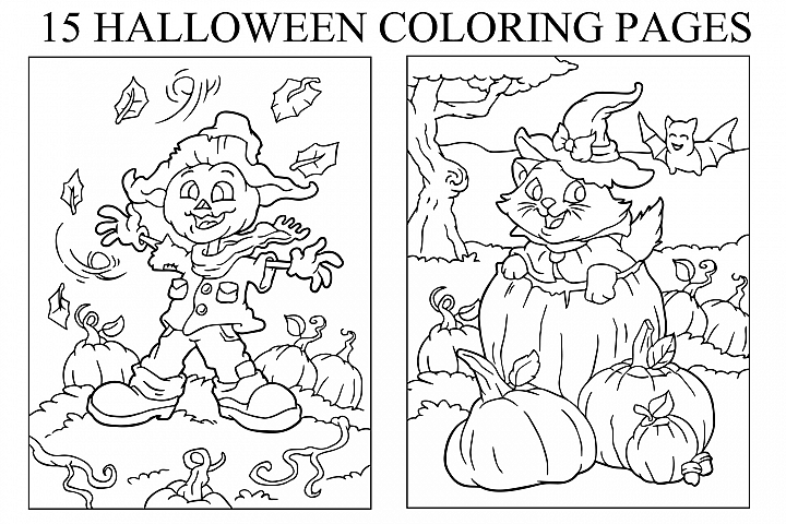 Coloring Pages For Kids - 15 Halloween Pages