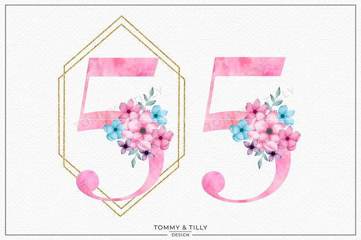 Five Pink Bouquet Birthday Number - Sublimation PNG Clipart