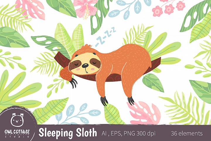 Sleepy Sloth Clipart Collection, Vector and Png