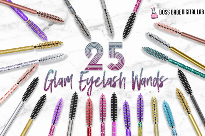 25 Glam Mascara Wand Clipart