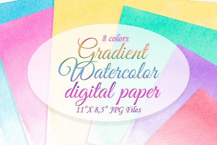 Watercolor digital paper Colorful background Ombre texture