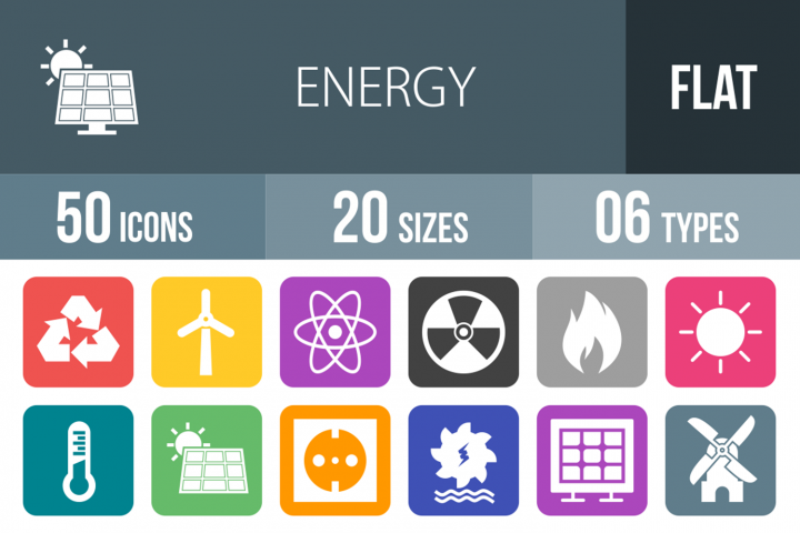 50 Energy Filled Round Corner Icons