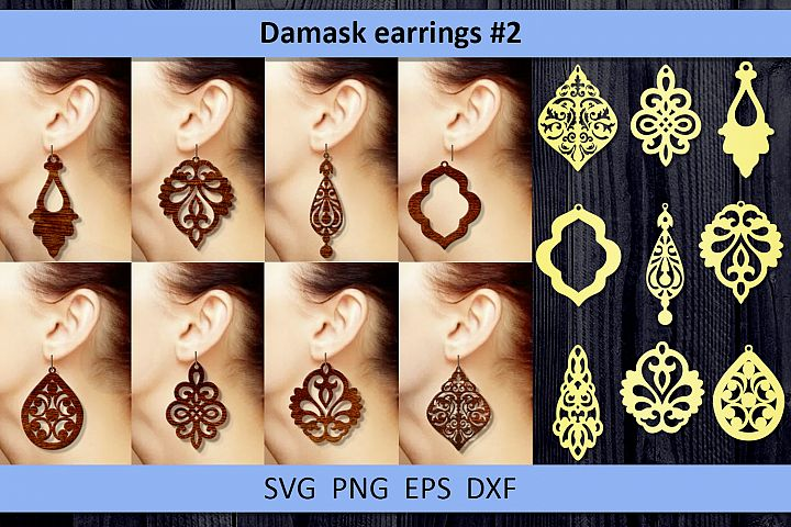 9 Damask earrings svg Leather earrings svg Necklace svg