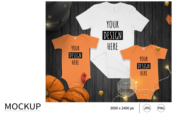 Family Matching Outfit Mockup. Halloween. Flat Lay