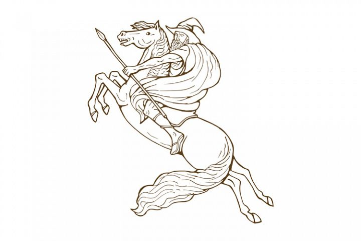 Norse God Odin riding horse