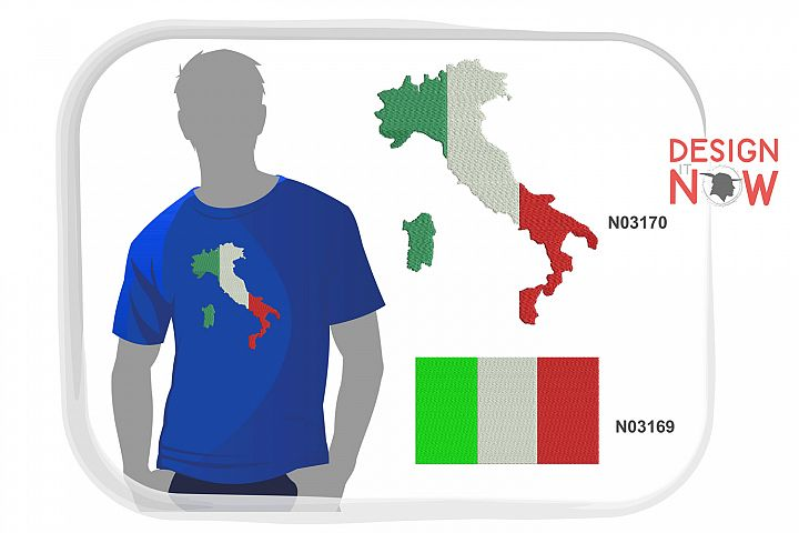 Flag Of Italy Embroidery Design, Map Embroidery Pattern