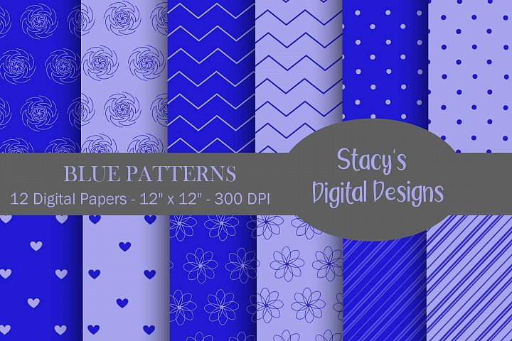 Blue Patterns - 12 Digital Papers