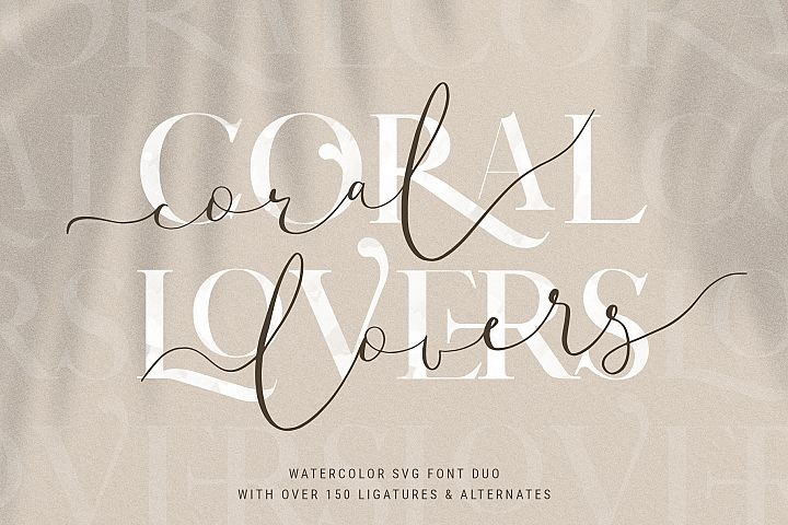 Coral Lovers SVG Watercolor Font Duo