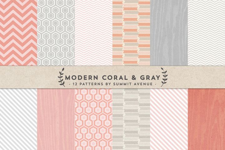 Modern Coral & Gray Digital Papers