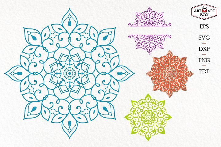 Three kinds of mandalas and a frame of halves.