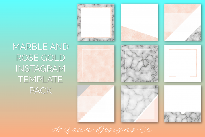 Marble and Rose Gold Foil Instagram Template Pack