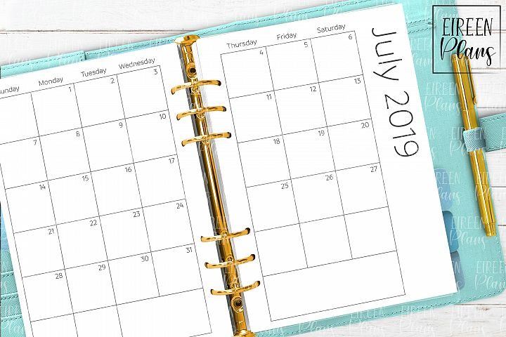 July 2019 - December 2020 Monthly Printable for A5 planners