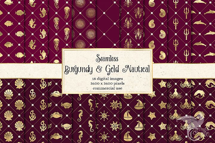 Burgundy and Gold Nautical Digital Paper