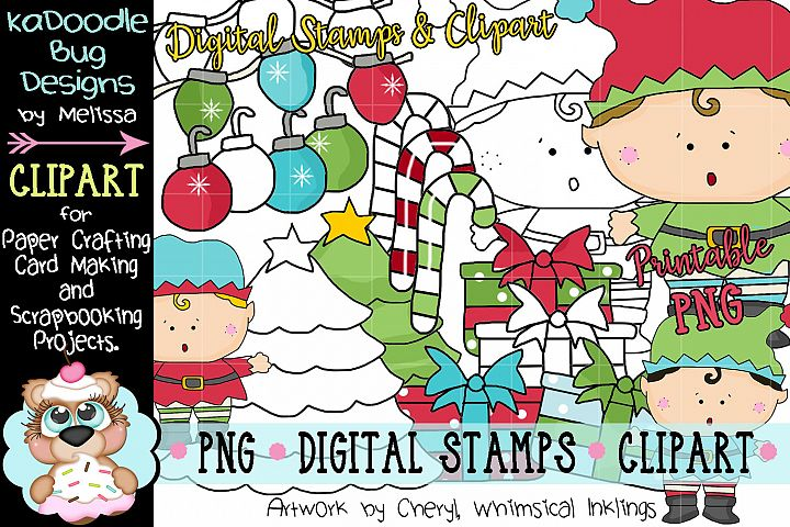 Happy Elf Digital Stamp and Clipart Illustrations PNG