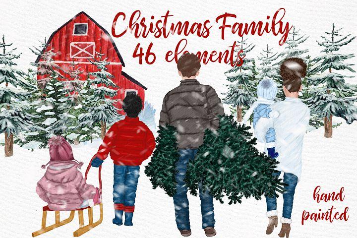 Christmas clipart,FAMILY CLIPART, Winter family, Pine Tree