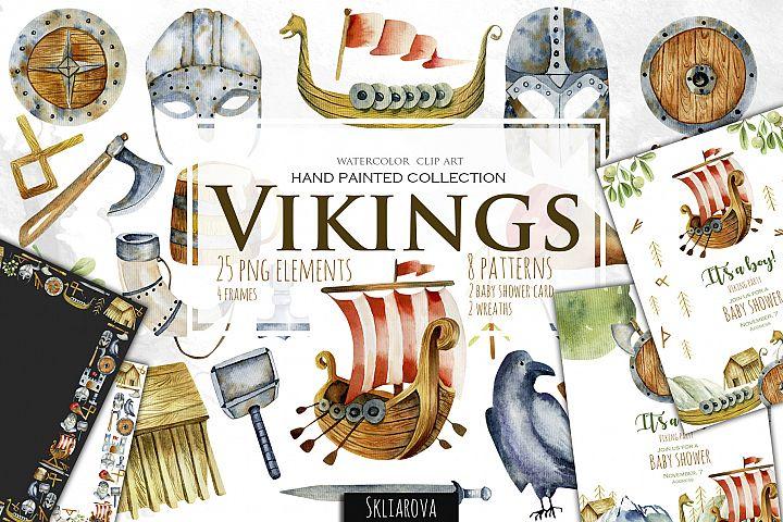 Vikings. Watercolor clip art.