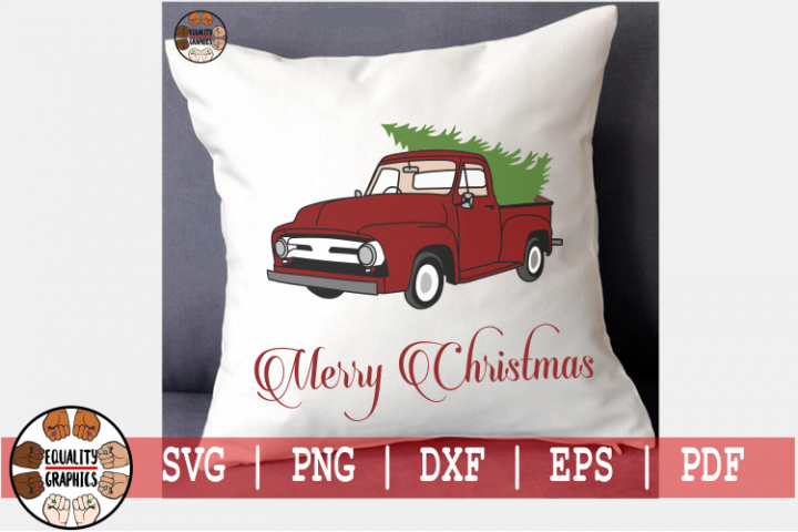Vintage Old School Red Christmas Tree Truck SVG   DXF   EPS 