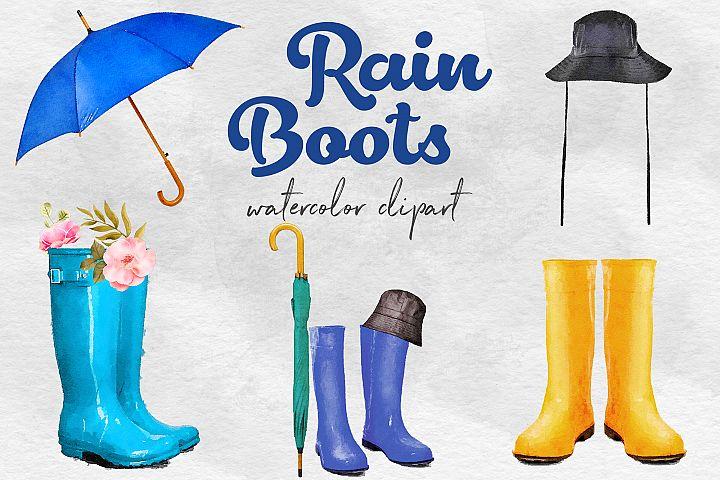 Watercolor Rain Boots Clipart, Wellington Boots