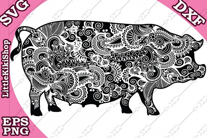 Zentangle Pig Svg,Mandala Pig Svg,Farm animal Svg,Pig Svg