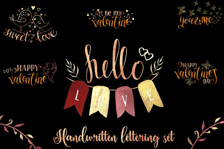 Hello love. Handwritten lettering set
