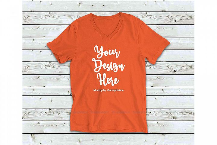 Orange Shirt Mock Up, Bella Canvas 3005 V-Neck Tee Mockup