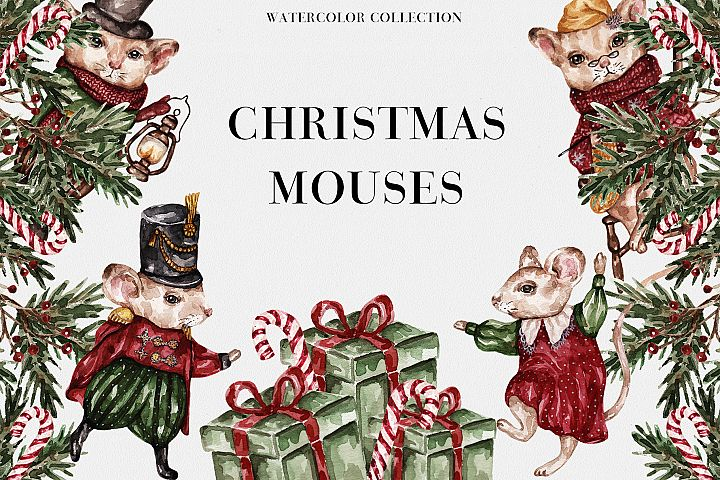 Watercolor Christmas Mouses